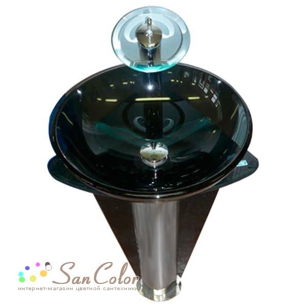 Frap Стеклянная раковина, темно-коричневый, 42 см,~(SKNJGPC)